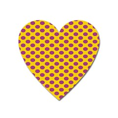 Polka Dot Purple Yellow Heart Magnet by Mariart