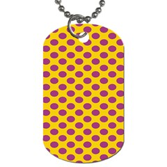 Polka Dot Purple Yellow Dog Tag (two Sides) by Mariart