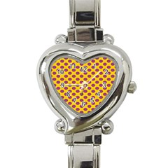 Polka Dot Purple Yellow Heart Italian Charm Watch by Mariart