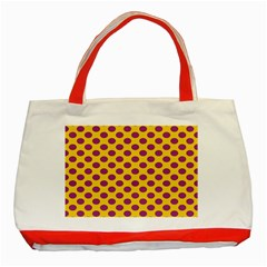 Polka Dot Purple Yellow Classic Tote Bag (red) by Mariart