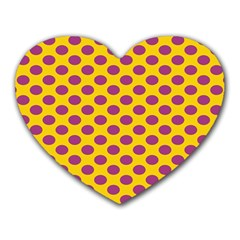 Polka Dot Purple Yellow Heart Mousepads by Mariart