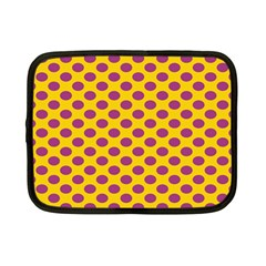 Polka Dot Purple Yellow Netbook Case (small)  by Mariart