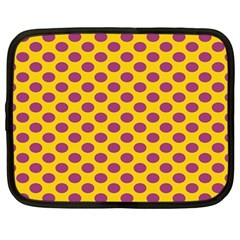 Polka Dot Purple Yellow Netbook Case (large) by Mariart
