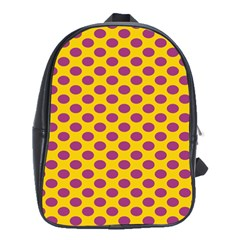 Polka Dot Purple Yellow School Bags(large)  by Mariart