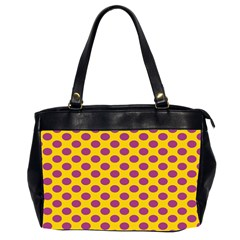 Polka Dot Purple Yellow Office Handbags (2 Sides)  by Mariart