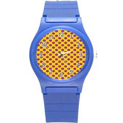 Polka Dot Purple Yellow Round Plastic Sport Watch (s) by Mariart