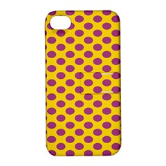 Polka Dot Purple Yellow Apple Iphone 4/4s Hardshell Case With Stand by Mariart