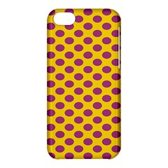 Polka Dot Purple Yellow Apple Iphone 5c Hardshell Case by Mariart