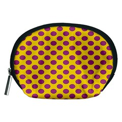 Polka Dot Purple Yellow Accessory Pouches (medium)  by Mariart