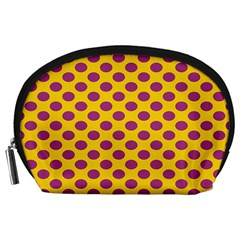 Polka Dot Purple Yellow Accessory Pouches (large)  by Mariart