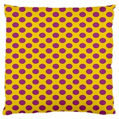 Polka Dot Purple Yellow Standard Flano Cushion Case (two Sides) by Mariart