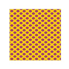Polka Dot Purple Yellow Small Satin Scarf (square) by Mariart