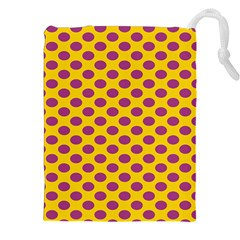 Polka Dot Purple Yellow Drawstring Pouches (xxl) by Mariart