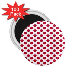 Polka Dot Red White 2 25  Magnets (100 Pack)
