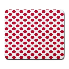 Polka Dot Red White Large Mousepads by Mariart