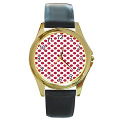 Polka Dot Red White Round Gold Metal Watch by Mariart