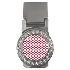 Polka Dot Red White Money Clips (cz)  by Mariart