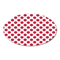 Polka Dot Red White Oval Magnet by Mariart
