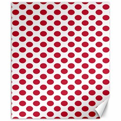 Polka Dot Red White Canvas 8  X 10  by Mariart
