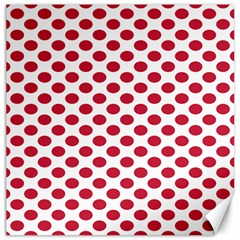 Polka Dot Red White Canvas 12  X 12   by Mariart