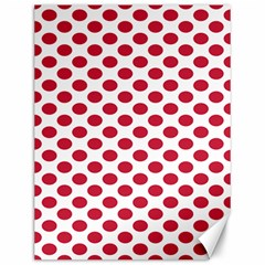 Polka Dot Red White Canvas 12  X 16   by Mariart