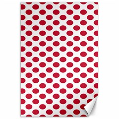Polka Dot Red White Canvas 20  X 30   by Mariart