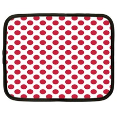 Polka Dot Red White Netbook Case (large) by Mariart