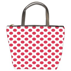 Polka Dot Red White Bucket Bags by Mariart