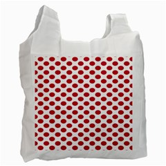 Polka Dot Red White Recycle Bag (one Side) by Mariart