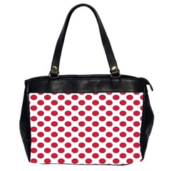 Polka Dot Red White Office Handbags (2 Sides)  by Mariart