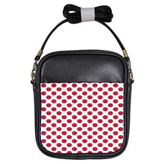 Polka Dot Red White Girls Sling Bags by Mariart