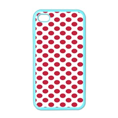 Polka Dot Red White Apple Iphone 4 Case (color) by Mariart