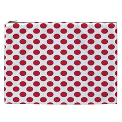 Polka Dot Red White Cosmetic Bag (xxl)  by Mariart