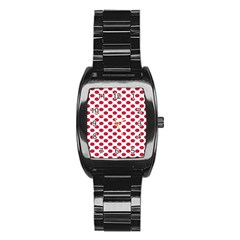 Polka Dot Red White Stainless Steel Barrel Watch by Mariart