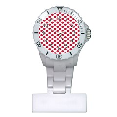 Polka Dot Red White Plastic Nurses Watch by Mariart