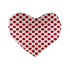 Polka Dot Red White Standard 16  Premium Flano Heart Shape Cushions by Mariart
