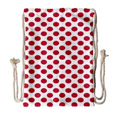 Polka Dot Red White Drawstring Bag (large) by Mariart