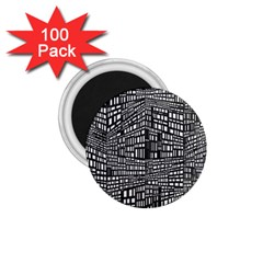 Plaid Black White 1 75  Magnets (100 Pack)  by Mariart