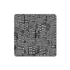 Plaid Black White Square Magnet by Mariart