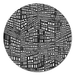 Plaid Black White Magnet 5  (round) by Mariart