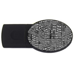 Plaid Black White Usb Flash Drive Oval (2 Gb) by Mariart