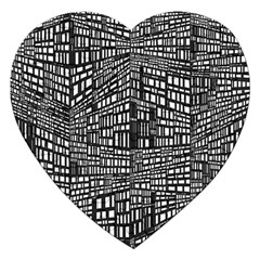 Plaid Black White Jigsaw Puzzle (heart) by Mariart