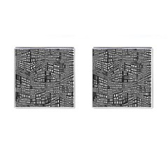 Plaid Black White Cufflinks (square) by Mariart