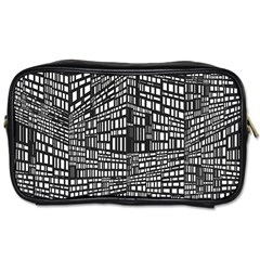 Plaid Black White Toiletries Bags 2 Side by Mariart