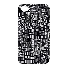 Plaid Black White Apple Iphone 4/4s Premium Hardshell Case by Mariart