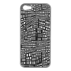 Plaid Black White Apple Iphone 5 Case (silver) by Mariart