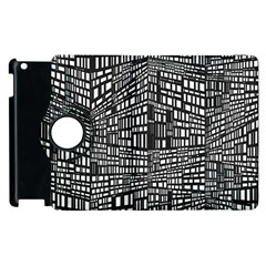Plaid Black White Apple Ipad 2 Flip 360 Case by Mariart