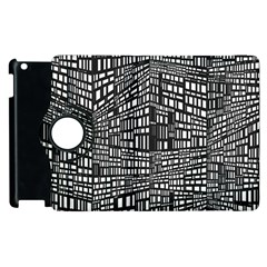 Plaid Black White Apple Ipad 3/4 Flip 360 Case by Mariart