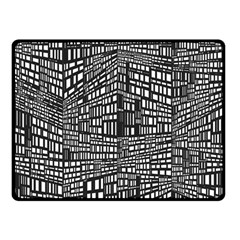 Plaid Black White Double Sided Fleece Blanket (small)  by Mariart