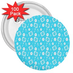 Record Blue Dj Music Note Club 3  Buttons (100 Pack)  by Mariart